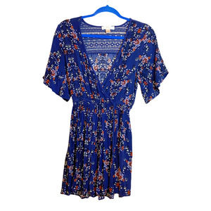 Band of Gypsies Floral Short Sleeve Wrap Dress